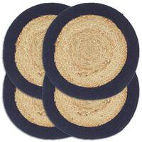 vidaXL Подложки за хранене 4 бр натурално и нейви 38 см юта и памук