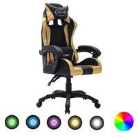 vidaXL Геймърски стол RGB LED златисто/черно изкуствена кожа