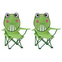 vidaXL Детски градински столове, 2 бр, зелени, текстил