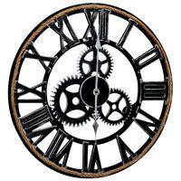 vidaXL Стенен часовник, черен, 60 см, МДФ