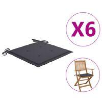 vidaXL Възглавници за градински столове 6 бр антрацит 40x40x4 см плат