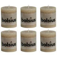 Bolsius Свещи рустик колони, 6 бр, 80x68 мм, пастелно бежови