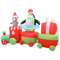 vidaXL Коледен надуваем влак с пингвин и мишка, LED, IP44, 350 см
