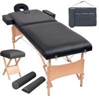 vidaXL Сгъваема масажна кушетка с 2 зони, столче, 10 см пълнеж, черна