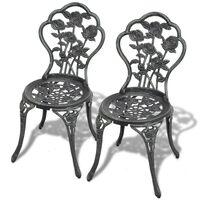 vidaXL Бистро столове, 2 бр, лят алуминий, зелени