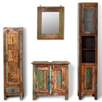 Комплект за баня от регенерирано дърво–шкаф за мивка, огледало,2 шкафа