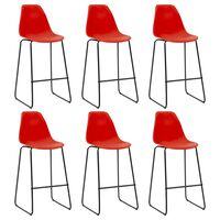 vidaXL Бар столове, 6 бр, червени, пластмаса
