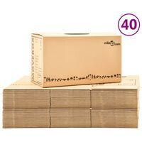 vidaXL Картонени кутии за преместване, XXL, 40 бр, 60x33x34 см