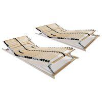 vidaXL Подматрачни рамки с 28 ламела, 2 бр, 7 зони, 90x200 см