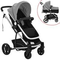 vidaXL Детска/бебешка количка 2-в-1, алуминий, сиво и черно