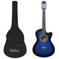 """vidaXL Комплект уестърн акустична китара, 12 части, 6 струни, син, 38"""""""