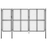 vidaXL Градинска порта, стомана, 175x395 см, антрацит