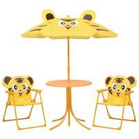 vidaXL Детски градински бистро комплект от 3 части, с чадър, жълт