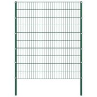 vidaXL Ограден панел с колове, желязо, 1,7 м, зелен