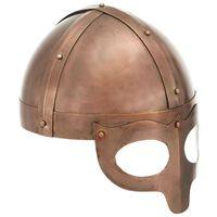 vidaXL Викингски шлем, антична реплика, ЛАРП, цвят мед, стомана