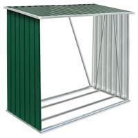 vidaXL Навес за дърва, поцинкована стомана, 163x83x154 см, зелен