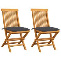 vidaXL Градински столове с възглавници антрацит 2 бр тик масив