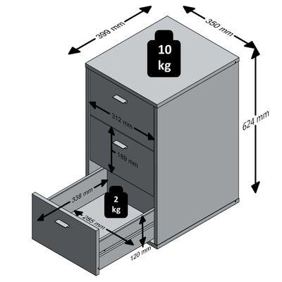 FMD Нощно шкафче с 3 чекмеджета, бяло