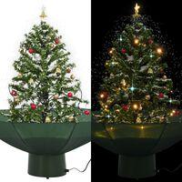 vidaXL Коледна елха с валящ сняг и основа от чадър, зелена, 75 см