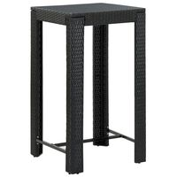 vidaXL Градинска бар маса, черна, 60,5x60,5x110,5 см, полиратан