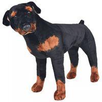 vidaXL Плюшено детско куче ротвайлер за яздене, черно и кафяво, XXL