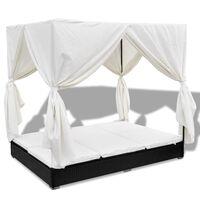 vidaXL Градинско лаундж легло със завеси, полиратан, черно