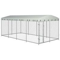 vidaXL Дворна клетка за кучета с покрив, 8x4x2 м