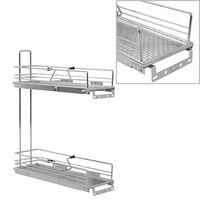 vidaXL 2-етажна издърпваща се кошница за кухня сребриста 47x15x54,5  см