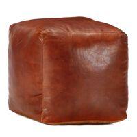 vidaXL Пуф, жълтокафяв, 40x40x40 см, естествена козя кожа