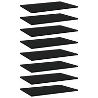vidaXL Рафтове за етажерка, 8 бр, черни, 60x40x1,5 см, ПДЧ