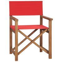 vidaXL Режисьорски стол, тиково дърво масив, червен