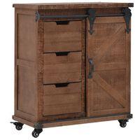 vidaXL Шкаф за съхранение, чам масив, 64x33,5x75 см, кафяв