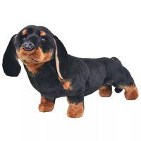 vidaXL Плюшено куче дакел за яздене, черно, XXL