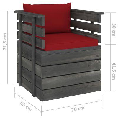 vidaXL Градински фотьойл с възглавници, борова дървесина