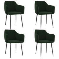 vidaXL Трапезни столове, 4 бр, тъмнозелени, кадифе