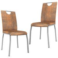 vidaXL Трапезни столове, 2 бр, кафяви, изкуствен велур