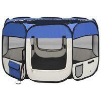 vidaXL Сгъваема кучешка кошара с чанта за носене, синя, 110x110x58 см