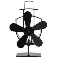 vidaXL Вентилатор за печка за топъл въздух, 5 перки, черен