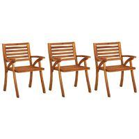 vidaXL Градински столове, 3 бр, акация масив