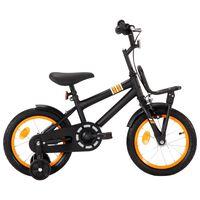 vidaXL Детски велосипед с преден багажник, 14 цола, черно и оранжево