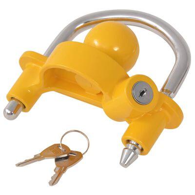 vidaXL Заключващ механизъм за ремарке 2 ключа стомана и алуминий жълт