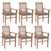 vidaXL Трапезни столове 6 бр със сиви възглавници тик масив