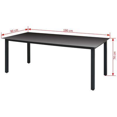 vidaXL Градинска маса, черна, 190x90x74 см, алуминий и стъкло