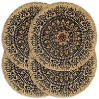 vidaXL Подложки за хранене, 4 бр, тъмносини, 38 см, кръгли, юта