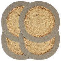vidaXL Подложки за хранене 4 бр натурално и сиво 38 см юта и памук