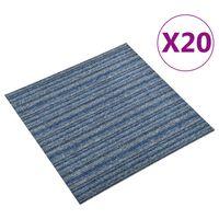 vidaXL Килимни плочки за под, 20 бр, 5 м², 50x50 см, сини ивици