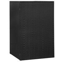 vidaXL Единичен навес за кофа за смет черен 76x78x120 см полиратан