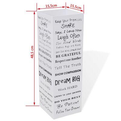 Квадратна стойка за чадъри и бастуни, бяла, стомана, 48,5 см