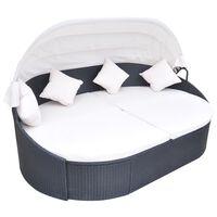vidaXL Градинско лаундж легло със сенник, полиратан, черно