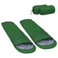 vidaXL Олекотени спални чували, 2 бр, зелени, 15 ℃, 850 г